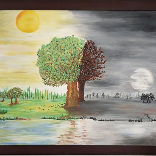 day and night, 36 x 30 inch, khushwinder singh,36x30inch,canvas,paintings,landscape paintings,conceptual paintings,expressionism paintings,paintings for dining room,paintings for living room,paintings for bedroom,paintings for office,paintings for hotel,paintings for school,paintings for hospital,acrylic color,oil color,GAL02999642186