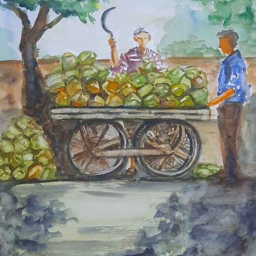 coconut seller, 12 x 17 inch, anshuman sikka,12x17inch,paper,paintings,cityscape paintings,landscape paintings,still life paintings,nature paintings | scenery paintings,impressionist paintings,street art,paintings for dining room,paintings for living room,paintings for bedroom,paintings for office,paintings for kids room,paintings for hotel,paintings for kitchen,paintings for school,paintings for hospital,watercolor,GAL02997242187