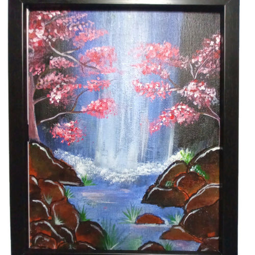 waterfall painting, 8 x 10 inch, divyakanth s,8x10inch,canvas,paintings,nature paintings   scenery paintings,art deco paintings,paintings for living room,paintings for bedroom,paintings for office,paintings for living room,paintings for bedroom,paintings for office,acrylic color,GAL03000942189