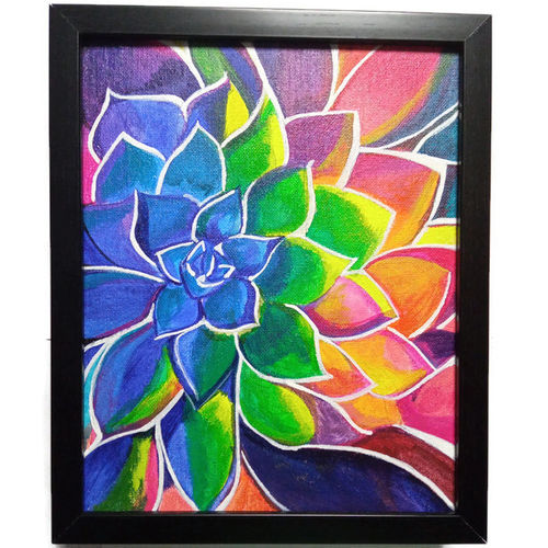 rainbow flower painting acrylic 8x10 canvas , 8 x 10 inch, divyakanth s,8x10inch,canvas,paintings,abstract paintings,flower paintings,paintings for dining room,paintings for living room,paintings for bedroom,paintings for office,acrylic color,GAL03000942193