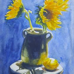 yellow and blue, 12 x 17 inch, anshuman sikka,12x17inch,thick paper,paintings,flower paintings,still life paintings,nature paintings | scenery paintings,art deco paintings,impressionist paintings,minimalist paintings,contemporary paintings,realistic paintings,paintings for dining room,paintings for living room,paintings for bedroom,paintings for office,paintings for bathroom,paintings for kids room,paintings for hotel,paintings for kitchen,paintings for school,paintings for hospital,watercolor,GAL02997242197