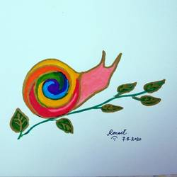 at a snail's pace, 8 x 11 inch, artist meet,8x11inch,ivory sheet,wildlife paintings,nature paintings | scenery paintings,realistic paintings,paintings for kids room,paintings for school,paintings for kids room,paintings for school,pen color,GAL0488342198