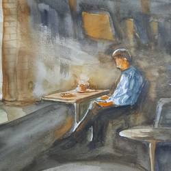 morning coffee, 12 x 17 inch, anshuman sikka,12x17inch,canson paper,paintings,abstract paintings,figurative paintings,modern art paintings,conceptual paintings,still life paintings,portrait paintings,abstract expressionism paintings,impressionist paintings,minimalist paintings,paintings for dining room,paintings for living room,paintings for bedroom,paintings for office,paintings for kids room,paintings for hotel,paintings for kitchen,paintings for school,paintings for hospital,watercolor,GAL02997242199