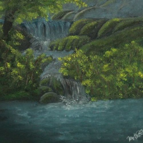 sunlit waterfall , 14 x 18 inch, karthik kamath,14x18inch,canvas,paintings,landscape paintings,paintings for dining room,paintings for living room,paintings for bedroom,paintings for office,paintings for kids room,paintings for hotel,oil color,GAL01410342202