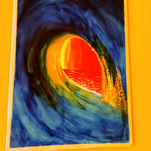 wave, 18 x 20 inch, prajit ghosh,18x20inch,thick paper,paintings,nature paintings | scenery paintings,illustration paintings,paintings for dining room,paintings for living room,paintings for hotel,watercolor,GAL03000242210