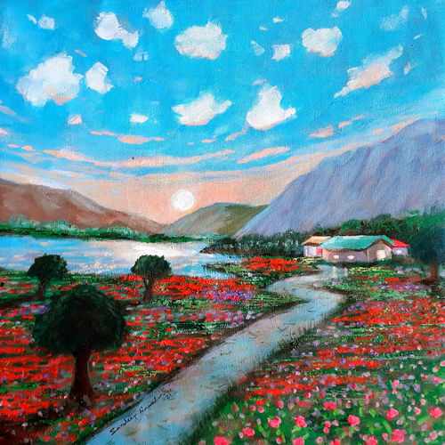 sunrise with red flowers (landscape), 18 x 18 inch, sandeep rawal ,18x18inch,canvas,paintings,abstract paintings,flower paintings,cityscape paintings,landscape paintings,modern art paintings,conceptual paintings,nature paintings | scenery paintings,abstract expressionism paintings,art deco paintings,contemporary paintings,realistic paintings,love paintings,paintings for dining room,paintings for living room,paintings for bedroom,paintings for office,paintings for bathroom,paintings for kids room,paintings for hotel,paintings for kitchen,paintings for school,paintings for hospital,acrylic color,GAL0251142212