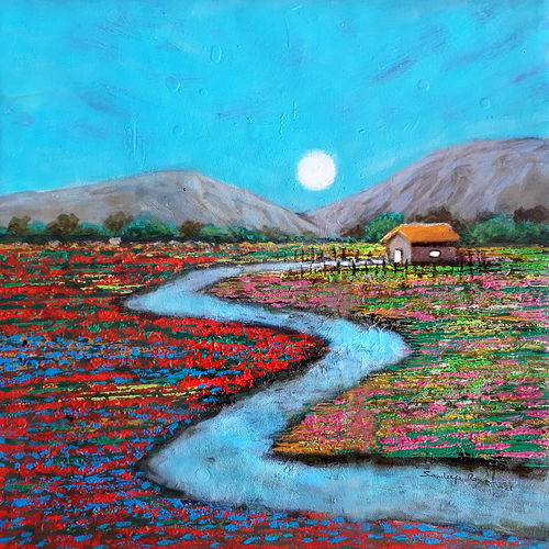 moonlight evening with red flower (landscape), 18 x 18 inch, sandeep rawal ,18x18inch,canvas,paintings,abstract paintings,flower paintings,cityscape paintings,landscape paintings,modern art paintings,nature paintings | scenery paintings,abstract expressionism paintings,art deco paintings,contemporary paintings,realistic paintings,love paintings,paintings for dining room,paintings for living room,paintings for bedroom,paintings for office,paintings for bathroom,paintings for kids room,paintings for hotel,paintings for kitchen,paintings for school,paintings for hospital,acrylic color,GAL0251142213