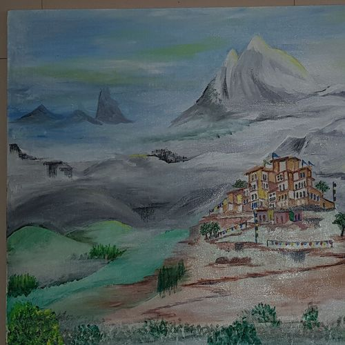 monastry, in high himalayas, 30 x 20 inch, khushwinder singh,30x20inch,canvas,paintings,landscape paintings,paintings for dining room,paintings for living room,paintings for bedroom,paintings for office,paintings for kids room,paintings for kitchen,paintings for school,paintings for hospital,acrylic color,oil color,GAL02999642223