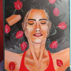 the lady in the water, 48 x 36 inch, paromita  das,48x36inch,canvas,still life paintings,acrylic color,GAL03005042225