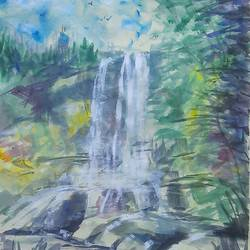 waterfalls , 11 x 15 inch, anshuman sikka,11x15inch,handmade paper,paintings,abstract paintings,wildlife paintings,landscape paintings,nature paintings | scenery paintings,abstract expressionism paintings,impressionist paintings,minimalist paintings,love paintings,water fountain paintings,paintings for dining room,paintings for living room,paintings for bedroom,paintings for office,paintings for bathroom,paintings for kids room,paintings for hotel,paintings for kitchen,paintings for school,paintings for hospital,watercolor,GAL02997242226