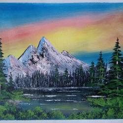 mountain lake view, 12 x 10 inch, sai amale ,12x10inch,canvas,paintings,landscape paintings,nature paintings   scenery paintings,paintings for dining room,paintings for living room,paintings for bedroom,paintings for office,paintings for hotel,paintings for kitchen,acrylic color,GAL02904142227