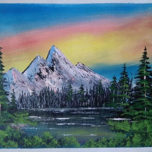 mountain lake view, 12 x 10 inch, sai amale ,12x10inch,canvas,paintings,landscape paintings,nature paintings | scenery paintings,paintings for dining room,paintings for living room,paintings for bedroom,paintings for office,paintings for hotel,paintings for kitchen,acrylic color,GAL02904142227