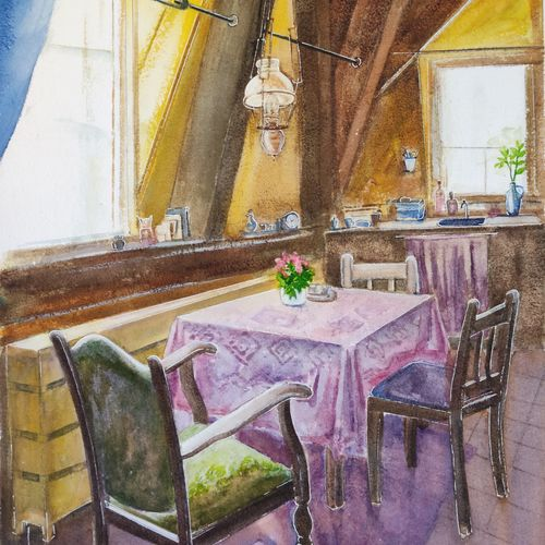 kitchen corner, 14 x 20 inch, ram mohan e,14x20inch,handmade paper,paintings,cityscape paintings,landscape paintings,still life paintings,art deco paintings,impressionist paintings,paintings for dining room,paintings for living room,paintings for office,paintings for hotel,paintings for kitchen,watercolor,GAL069742232