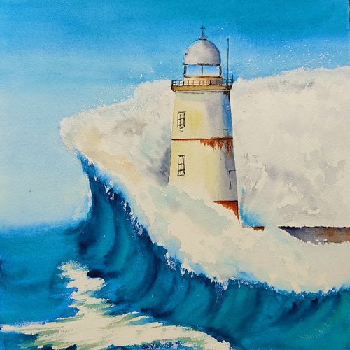 the lighthouse, 10 x 15 inch, divya bhagat,10x15inch,brustro watercolor paper,paintings,cityscape paintings,landscape paintings,nature paintings | scenery paintings,realism paintings,paintings for dining room,paintings for living room,paintings for bedroom,paintings for office,paintings for bathroom,paintings for kids room,paintings for hotel,paintings for kitchen,paintings for school,paintings for hospital,watercolor,GAL0610342233