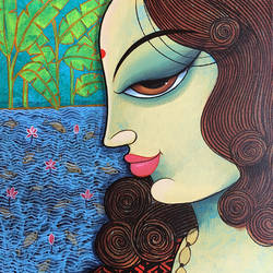 lady by the lake, 12 x 12 inch, indiagenous in,12x12inch,canvas,paintings,figurative paintings,flower paintings,landscape paintings,conceptual paintings,portrait paintings,nature paintings | scenery paintings,art deco paintings,expressionism paintings,illustration paintings,impressionist paintings,minimalist paintings,portraiture,surrealism paintings,paintings for dining room,paintings for living room,paintings for bedroom,paintings for office,paintings for bathroom,paintings for kids room,paintings for hotel,paintings for kitchen,paintings for school,paintings for hospital,acrylic color,GAL02982342239