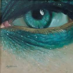 blue eyes, 25 x 35 inch, rajkumar  jangid,realistic paintings,paintings for living room,canvas,oil paint,25x35inch,GAL015084224