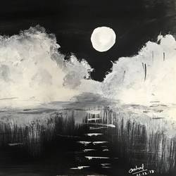 full moon night, 8 x 11 inch, anchal sharma,8x11inch,drawing paper,landscape paintings,nature paintings   scenery paintings,paintings for living room,paintings for bedroom,paintings for office,paintings for kids room,paintings for hotel,paintings for school,paintings for living room,paintings for bedroom,paintings for office,paintings for kids room,paintings for hotel,paintings for school,paper,GAL02841542246