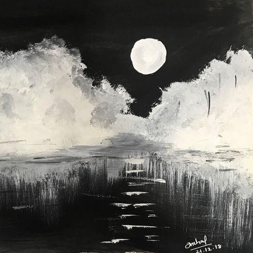 full moon night, 8 x 11 inch, anchal sharma,8x11inch,drawing paper,landscape paintings,nature paintings | scenery paintings,paintings for living room,paintings for bedroom,paintings for office,paintings for kids room,paintings for hotel,paintings for school,paintings for living room,paintings for bedroom,paintings for office,paintings for kids room,paintings for hotel,paintings for school,paper,GAL02841542246