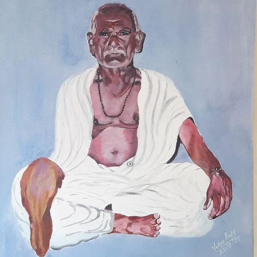 sastriji maharaj, 18 x 12 inch, niranjan vora,18x12inch,canvas,paintings,portrait paintings,photorealism paintings,paintings for dining room,paintings for living room,paintings for bedroom,paintings for office,acrylic color,GAL02890442251