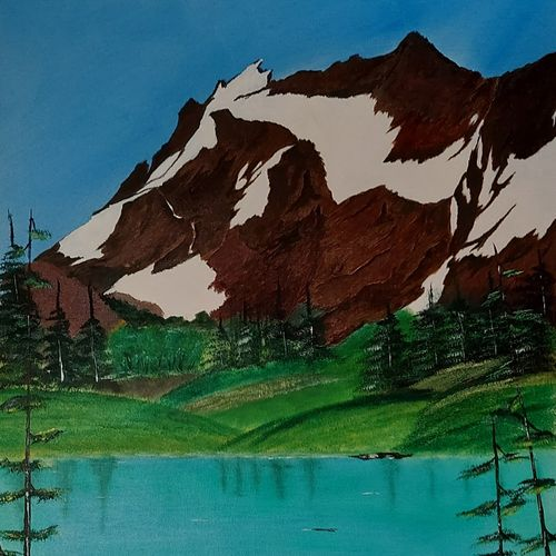 mountain near lake, 25 x 31 inch, jawahar govindan,25x31inch,canvas,paintings,landscape paintings,paintings for dining room,paintings for living room,paintings for bedroom,paintings for office,paintings for hotel,oil color,GAL02997342252