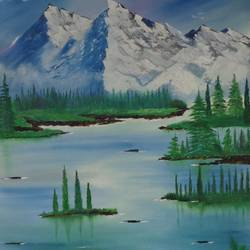 massive snow mountain near lake, 31 x 38 inch, jawahar govindan,31x38inch,canvas,paintings,landscape paintings,nature paintings | scenery paintings,paintings for dining room,paintings for living room,paintings for bedroom,paintings for office,paintings for hotel,oil color,GAL02997342254