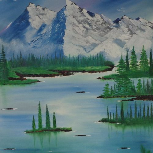 massive snow mountain near lake, 31 x 38 inch, jawahar govindan,31x38inch,canvas,paintings,landscape paintings,nature paintings   scenery paintings,paintings for dining room,paintings for living room,paintings for bedroom,paintings for office,paintings for hotel,oil color,GAL02997342254