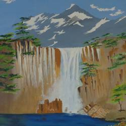 waterfall through mountain, 24 x 30 inch, jawahar govindan,24x30inch,canvas,paintings,landscape paintings,nature paintings | scenery paintings,paintings for dining room,paintings for living room,paintings for bedroom,paintings for office,paintings for hotel,oil color,GAL02997342256