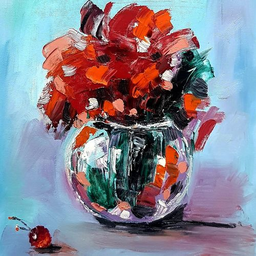 flowers , 11 x 15 inch, sweta parmar,11x15inch,canvas,paintings,abstract paintings,flower paintings,landscape paintings,modern art paintings,oil color,GAL0655642259