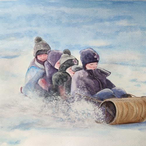winter play, 16 x 12 inch, ram mohan e,16x12inch,paper,paintings,figurative paintings,landscape paintings,portrait paintings,nature paintings | scenery paintings,impressionist paintings,kids paintings,paintings for living room,paintings for office,paintings for kids room,paintings for hotel,watercolor,GAL069742264