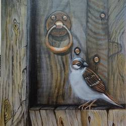 the bird on the window, 10 x 12 inch, paromita das,10x12inch,canvas,nature paintings | scenery paintings,animal paintings,paintings for living room,paintings for bedroom,paintings for office,paintings for kids room,paintings for hotel,paintings for school,paintings for living room,paintings for bedroom,paintings for office,paintings for kids room,paintings for hotel,paintings for school,acrylic color,GAL03005042267