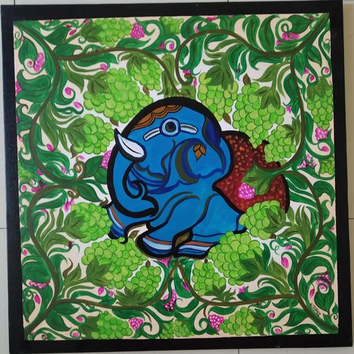 ajanta elephant , 24 x 24 inch, dhatri thanki,24x24inch,canvas,paintings,folk art paintings,nature paintings | scenery paintings,elephant paintings,paintings for living room,acrylic color,GAL03009442275