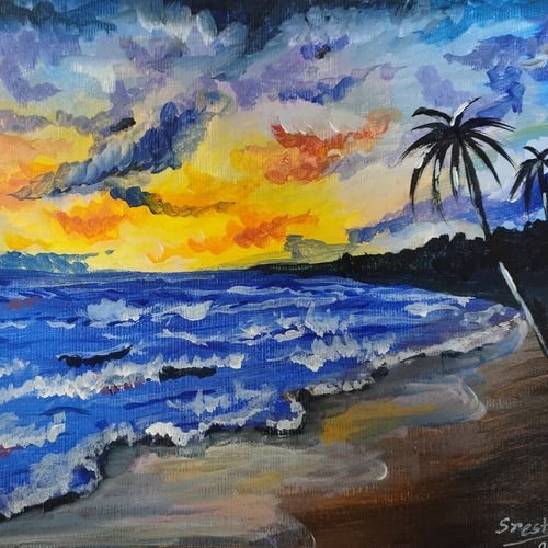 seascape, 9 x 12 inch, sresthita mukherjee,9x12inch,canvas board,paintings,landscape paintings,nature paintings | scenery paintings,abstract expressionism paintings,illustration paintings,paintings for dining room,paintings for living room,paintings for bedroom,paintings for office,paintings for bathroom,paintings for kids room,paintings for hotel,paintings for kitchen,paintings for school,paintings for hospital,acrylic color,GAL03001142277