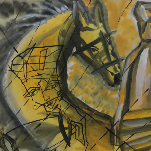 the yellow horse, 12 x 16 inch, kirti tak,12x16inch,ivory sheet,paintings,modern art paintings,paintings for office,paintings for hotel,poster color,GAL03010342285
