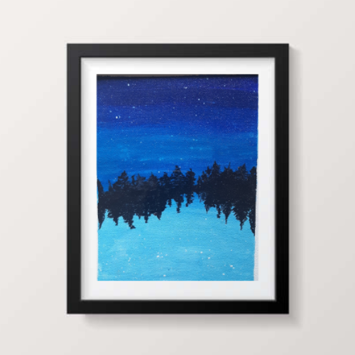 starry lake, 8 x 10 inch, sangeeta kulkarni,8x10inch,canvas,paintings,landscape paintings,nature paintings | scenery paintings,paintings for living room,paintings for bedroom,paintings for office,paintings for bathroom,paintings for kids room,paintings for hotel,acrylic color,GAL02878442292