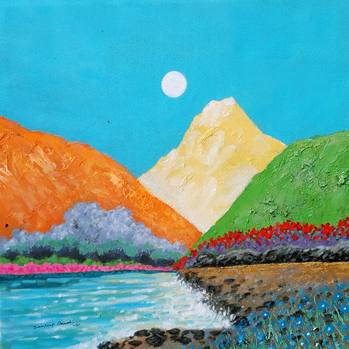 sunrise in the holy ganges valley (landscape) - 1 , 18 x 18 inch, sandeep rawal ,18x18inch,canvas,paintings,abstract paintings,flower paintings,landscape paintings,nature paintings | scenery paintings,contemporary paintings,water fountain paintings,paintings for dining room,paintings for living room,paintings for bedroom,paintings for office,paintings for bathroom,paintings for kids room,paintings for hotel,paintings for kitchen,paintings for school,paintings for hospital,acrylic color,GAL0251142303