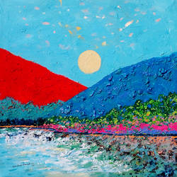 sunrise in the holy ganges valley (landscape) - 2, 18 x 18 inch, sandeep rawal ,18x18inch,canvas,paintings,abstract paintings,flower paintings,landscape paintings,nature paintings | scenery paintings,contemporary paintings,water fountain paintings,paintings for dining room,paintings for living room,paintings for bedroom,paintings for office,paintings for bathroom,paintings for kids room,paintings for hotel,paintings for kitchen,paintings for school,paintings for hospital,paintings for dining room,paintings for living room,paintings for bedroom,paintings for office,paintings for bathroom,paintings for kids room,paintings for hotel,paintings for kitchen,paintings for school,paintings for hospital,acrylic color,GAL0251142304