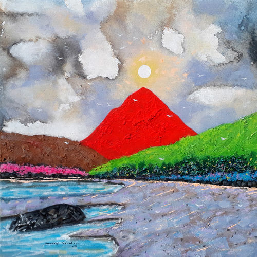 sunrise in the holy ganges valley (landscape) - 3, 18 x 18 inch, sandeep rawal ,18x18inch,canvas,paintings,abstract paintings,flower paintings,landscape paintings,nature paintings | scenery paintings,contemporary paintings,water fountain paintings,paintings for dining room,paintings for living room,paintings for bedroom,paintings for office,paintings for bathroom,paintings for kids room,paintings for hotel,paintings for kitchen,paintings for school,paintings for hospital,acrylic color,GAL0251142305