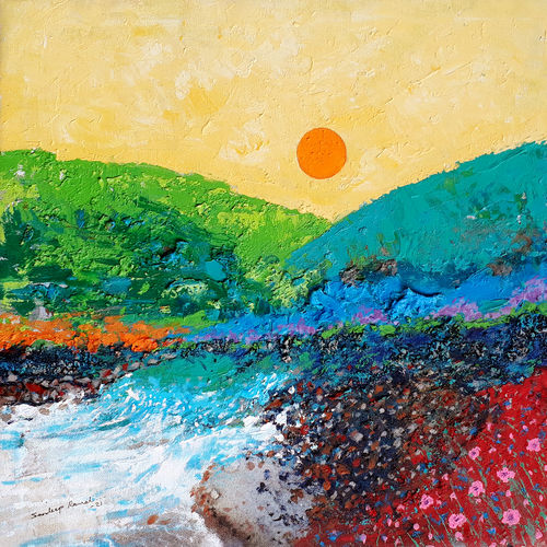 sunrise in the holy ganges valley (landscape) - 4, 18 x 18 inch, sandeep rawal ,18x18inch,canvas,paintings,abstract paintings,flower paintings,landscape paintings,nature paintings | scenery paintings,contemporary paintings,water fountain paintings,paintings for dining room,paintings for living room,paintings for bedroom,paintings for office,paintings for bathroom,paintings for kids room,paintings for hotel,paintings for kitchen,paintings for school,paintings for hospital,acrylic color,GAL0251142306