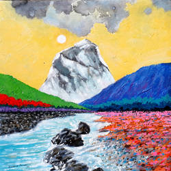 sunrise in the holy ganges valley (landscape) - 5, 18 x 18 inch, sandeep rawal ,18x18inch,canvas,paintings,abstract paintings,flower paintings,landscape paintings,nature paintings | scenery paintings,contemporary paintings,water fountain paintings,paintings for dining room,paintings for living room,paintings for bedroom,paintings for office,paintings for bathroom,paintings for kids room,paintings for hotel,paintings for kitchen,paintings for school,paintings for hospital,acrylic color,GAL0251142307