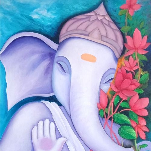 ganesha, 20 x 25 inch, a.b.  kaser,20x25inch,canvas,ganesha paintings | lord ganesh paintings,acrylic color,GAL063642315