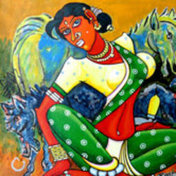 indian horse, 16 x 16 inch, mohammad rustum,figurative paintings,paintings for bedroom,canvas,acrylic color,16x16inch,GAL015134232