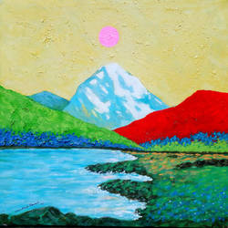 sunrise in the holy ganges valley (landscape) - 6, 18 x 18 inch, sandeep rawal ,18x18inch,canvas,paintings,flower paintings,landscape paintings,nature paintings | scenery paintings,water fountain paintings,paintings for dining room,paintings for living room,paintings for bedroom,paintings for office,paintings for bathroom,paintings for kids room,paintings for hotel,paintings for kitchen,paintings for school,paintings for hospital,acrylic color,GAL0251142326