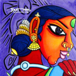 kalavthi, 12 x 12 inch, mohammad rustum,figurative paintings,paintings for dining room,canvas,acrylic color,12x12inch,GAL015134233