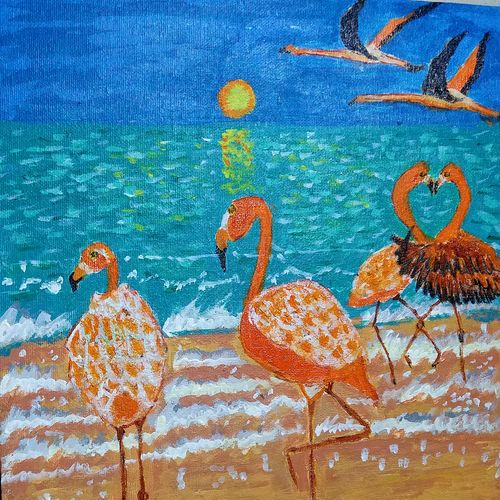 flamingos, 12 x 12 inch, shweta patil,12x12inch,canvas,paintings,wildlife paintings,nature paintings | scenery paintings,animal paintings,love paintings,paintings for dining room,paintings for living room,paintings for bedroom,paintings for office,paintings for kids room,paintings for hotel,paintings for kitchen,paintings for school,paintings for hospital,acrylic color,GAL02843442330