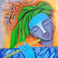krishna as gwala, 19 x 25 inch, a.b.  kaser,19x25inch,canvas,paintings,figurative paintings,expressionism paintings,acrylic color,GAL063642332