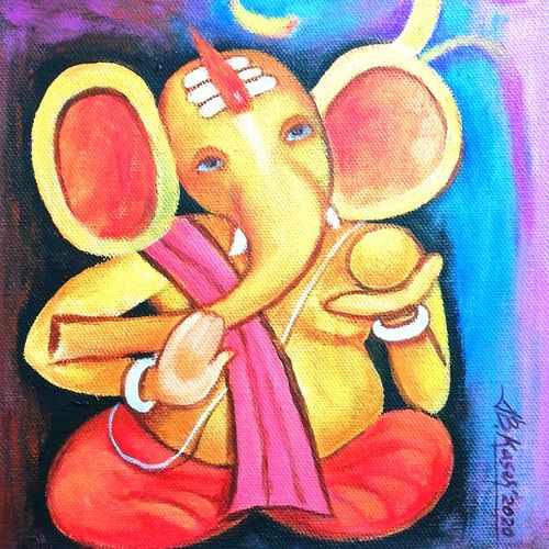 om ganesha , 8 x 9 inch, a.b.  kaser,8x9inch,canvas,paintings,figurative paintings,religious paintings,ganesha paintings | lord ganesh paintings,paintings for dining room,paintings for living room,paintings for office,paintings for kids room,paintings for school,acrylic color,GAL063642336