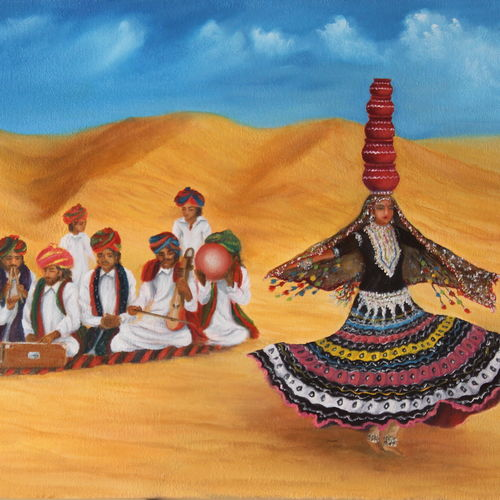 music and dance of rajasthan - india, 24 x 16 inch, goutami mishra,24x16inch,canvas,paintings,figurative paintings,folk art paintings,landscape paintings,nature paintings | scenery paintings,impressionist paintings,photorealism paintings,photorealism,realism paintings,realistic paintings,paintings for dining room,paintings for living room,paintings for bedroom,paintings for hotel,oil color,GAL046542339