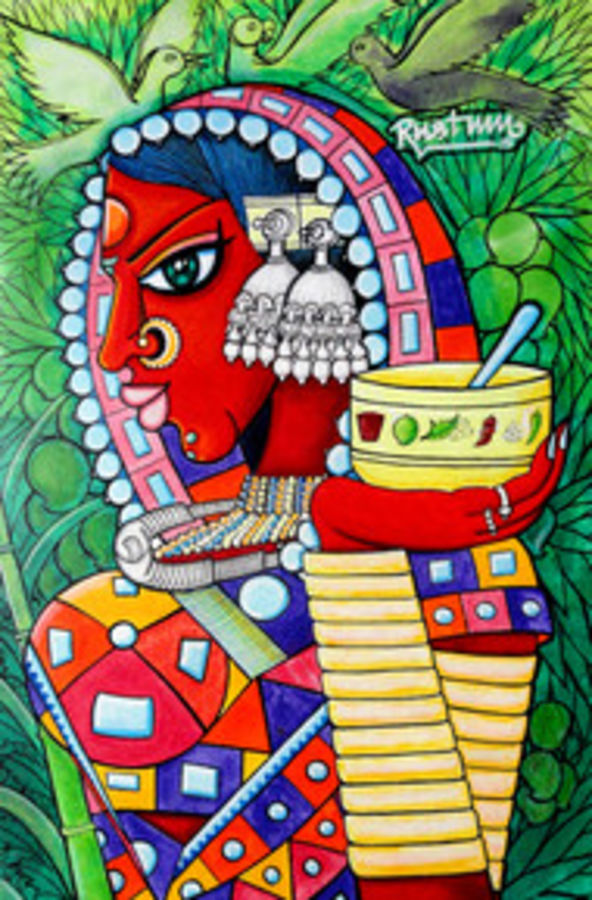 vanadevatha, 14 x 22 inch, mohammad rustum,figurative paintings,paintings for office,canvas,acrylic color,14x22inch,GAL015134234