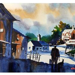 village, 11 x 8 inch, shankhadeep  mondal,11x8inch,brustro watercolor paper,paintings,cityscape paintings,landscape paintings,modern art paintings,nature paintings | scenery paintings,paintings for dining room,paintings for living room,paintings for bedroom,paintings for office,paintings for kids room,paintings for hotel,paintings for kitchen,paintings for school,paintings for hospital,watercolor,GAL01403042348