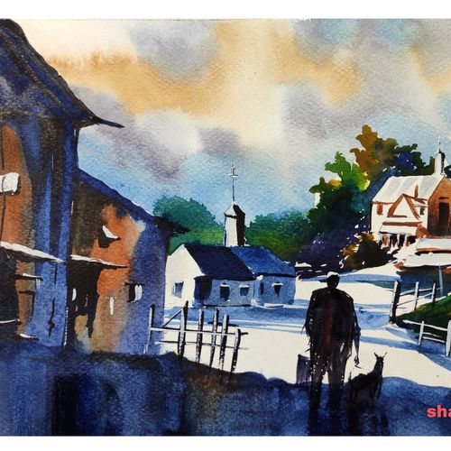 village, 11 x 8 inch, shankhadeep  mondal,11x8inch,brustro watercolor paper,paintings,cityscape paintings,landscape paintings,modern art paintings,nature paintings   scenery paintings,paintings for dining room,paintings for living room,paintings for bedroom,paintings for office,paintings for kids room,paintings for hotel,paintings for kitchen,paintings for school,paintings for hospital,watercolor,GAL01403042348